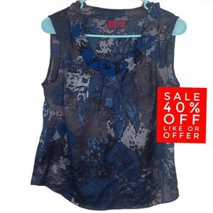 212 Collection Blue Floral Gray Ruffle Tank Top MP